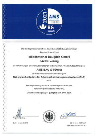 Zertifikat AMS- Bau